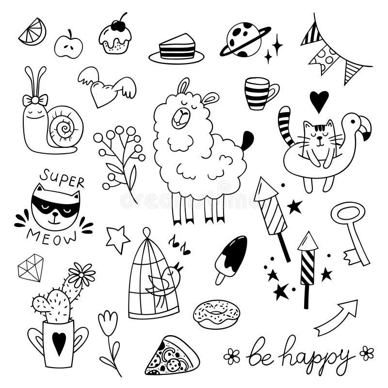 Set of cute childish doodles. Vector clipart. stock photos