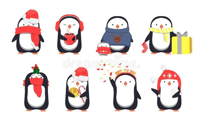 Set of cute Christmas penguins stock illustration