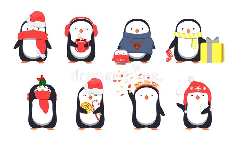Set of cute Christmas penguins. Vector illustration royalty free illustration