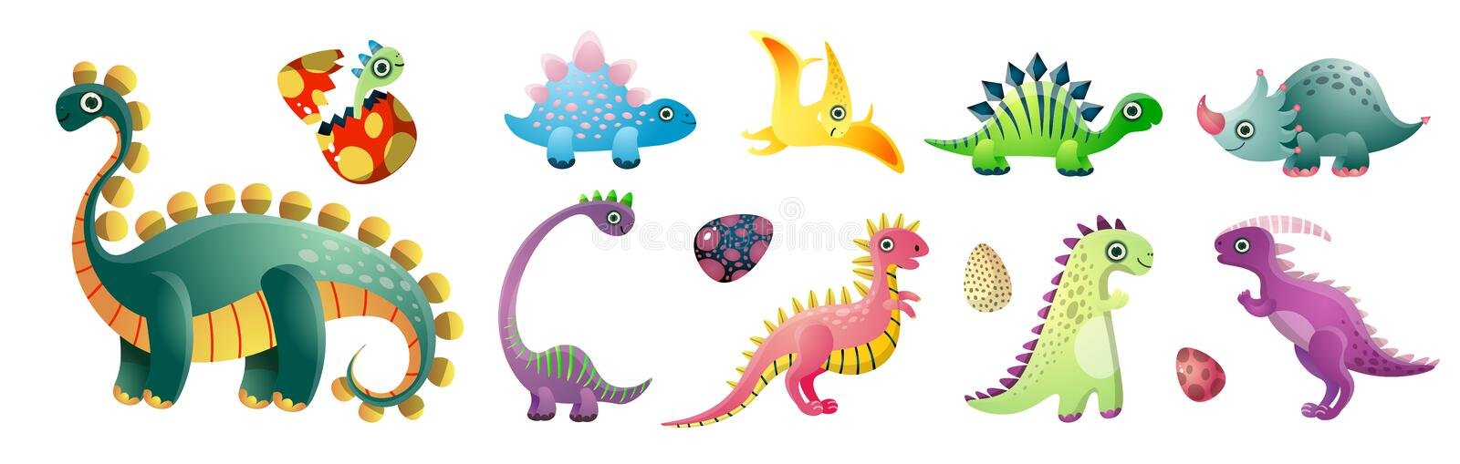 Set of cute colorful dinosaurs and colorful kid egg. At old period. Cartoon style. Vector illustration on white background stock illustration