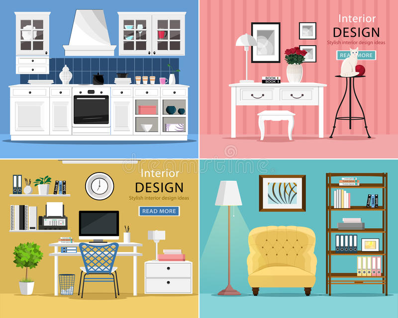Set of cute and colorful graphic interior design room types with furniture: kitchen, living room, home office. vector illustration