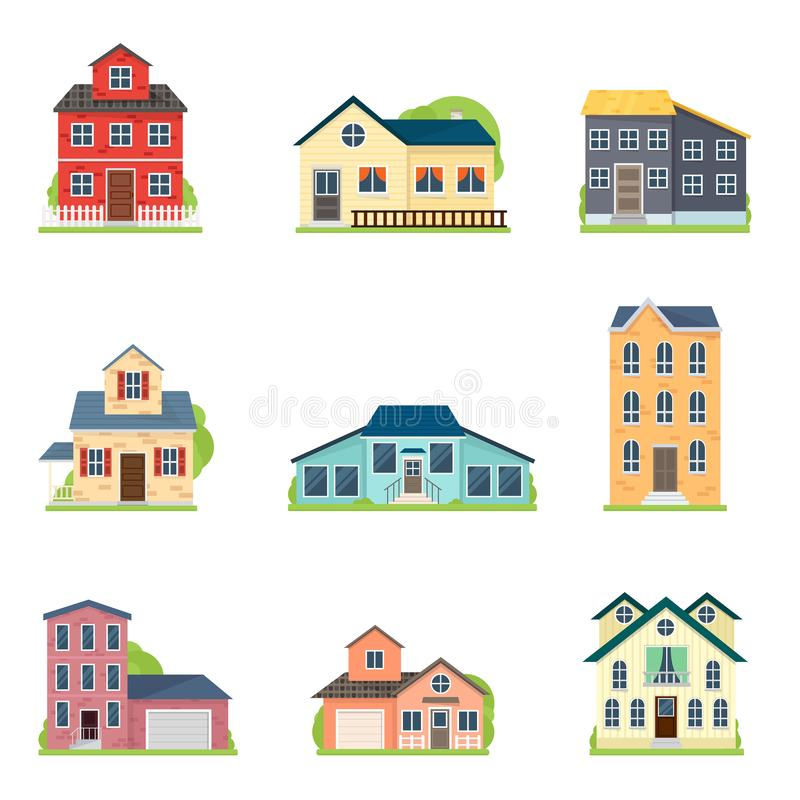 Set of cute colorful houses in city or village style. For architectural project. Flat style. Vector illustration on white background stock illustration