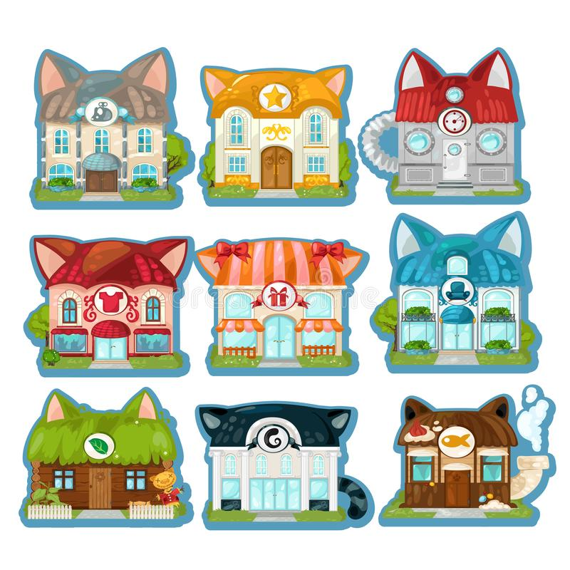 Set of cute colorful houses in the style of cats isolated on white background. Cat village. Vector cartoon close-up vector illustration