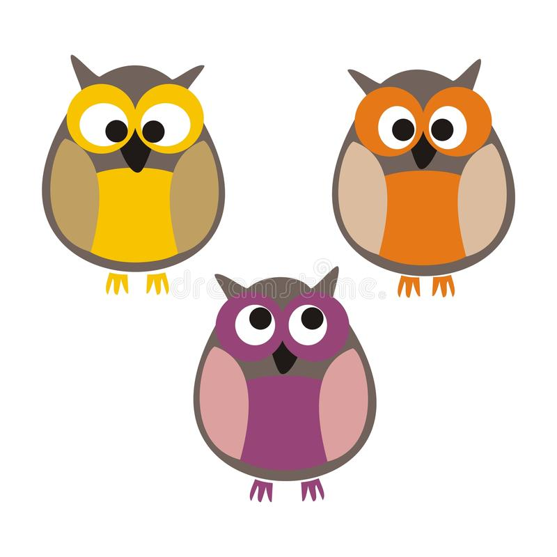Set Of Cute Colorful Isolated Vector Owls Stock Image