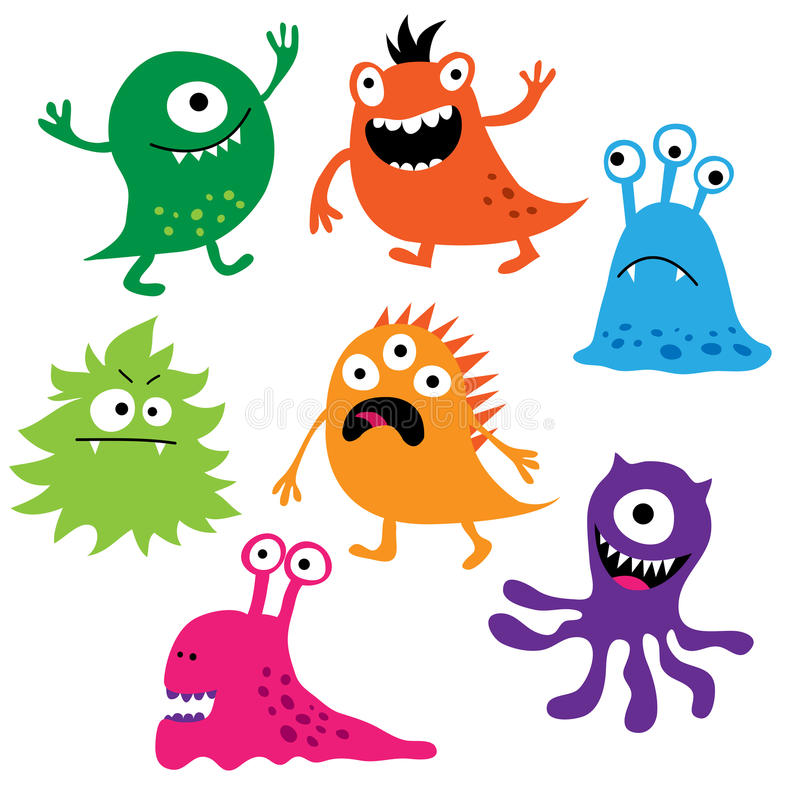 Set of cute colorful monsters royalty free illustration
