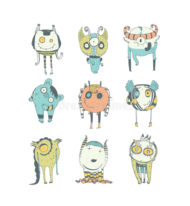 Set of cute colorful monsters, hand drawn in doodle style, isolated on white background. Lovely characters collection. Vector stock illustration