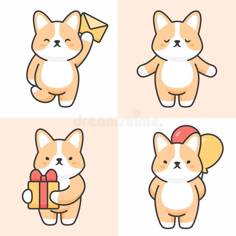 Vector set of cute corgi dog characters vector illustration