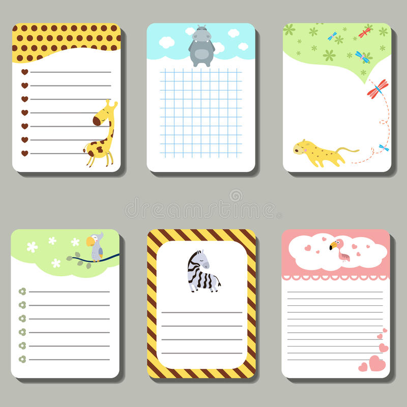 Set of cute creative cards with cute animals. royalty free illustration