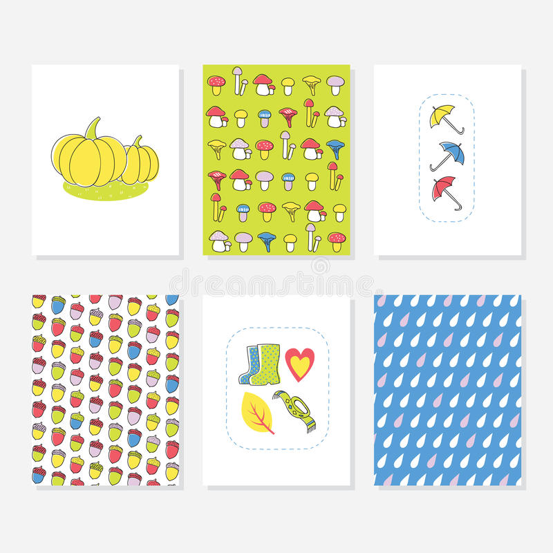 Set of 6 Cute Creative Cards Templates With Autumn Design. Hand Drawn Card. Set of 6 Cute Creative Cards Templates With Autumn Design. Hand Drawn Card For royalty free illustration