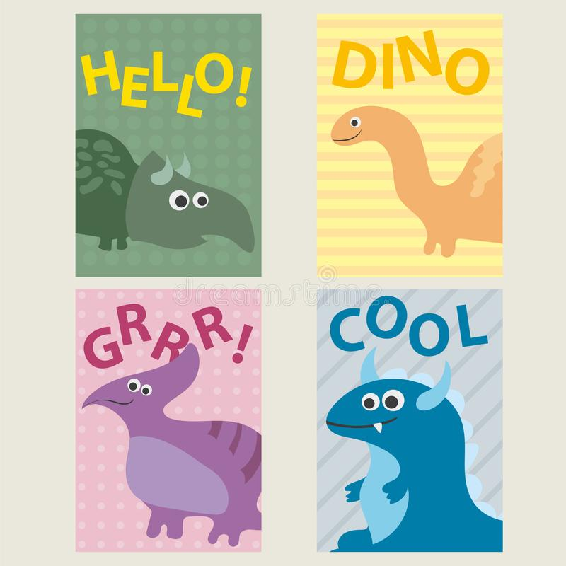 Set of 4 cards templates with dinosaurs for birthday, invitations, scrapbooking vector illustration