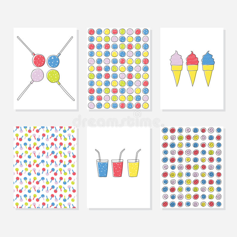 Set of 6 Cute Creative Cards Templates With Party Theme Design. Hand Drawn Card For Anniversary, Birthday, Party Invitations. royalty free illustration