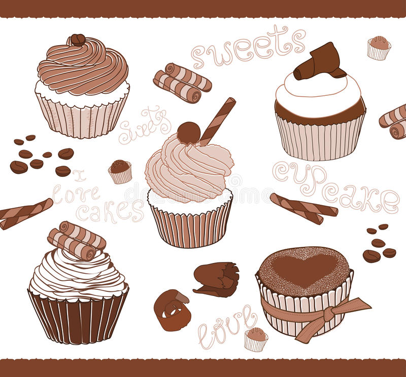 Download Set Of Cute Cupcakes For Design Stock Vector - Image: 22230466