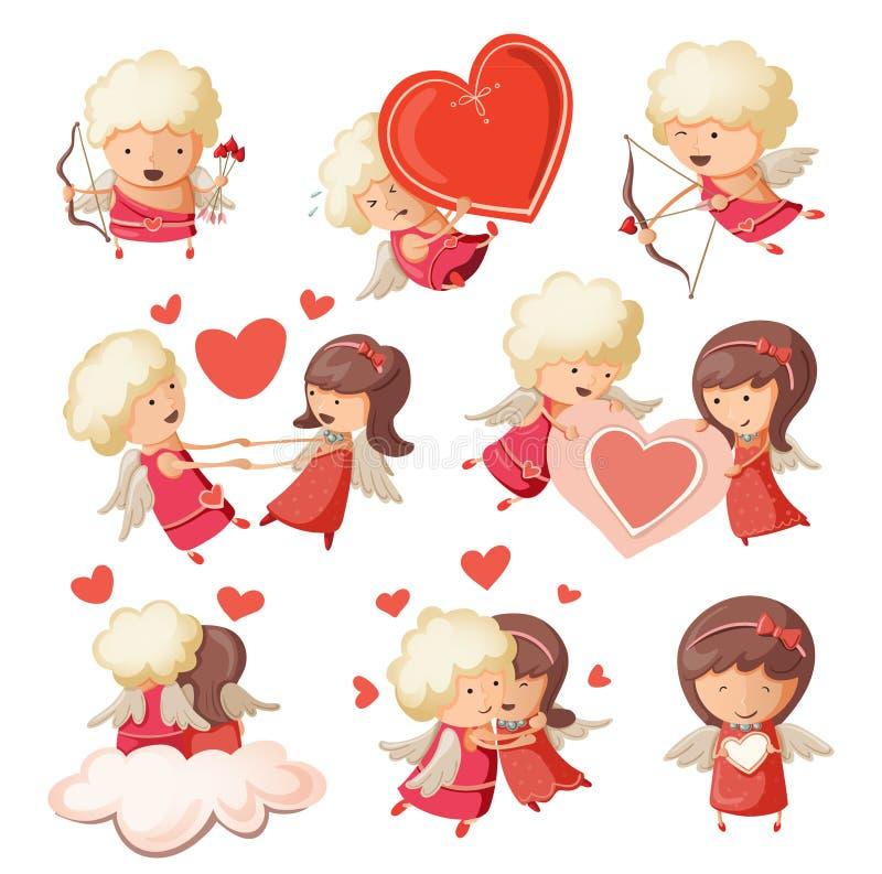 Set of cute cupids. vector illustration