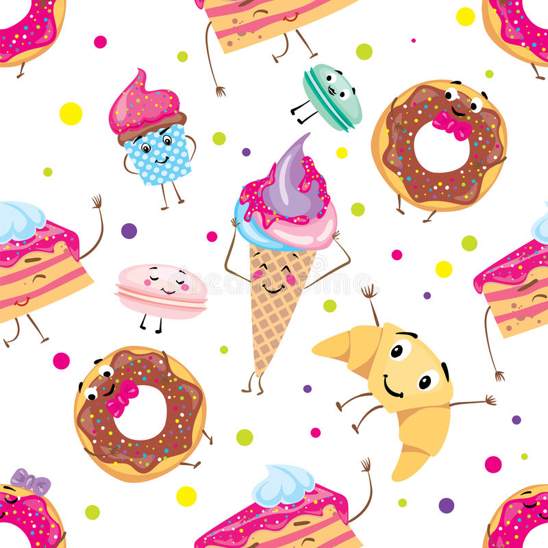 Set of cute desserts. Donuts, muffins, pasta, coffee, tea, cup, cake, ice creams and a croissant. Smiling sweets. Characters. royalty free illustration