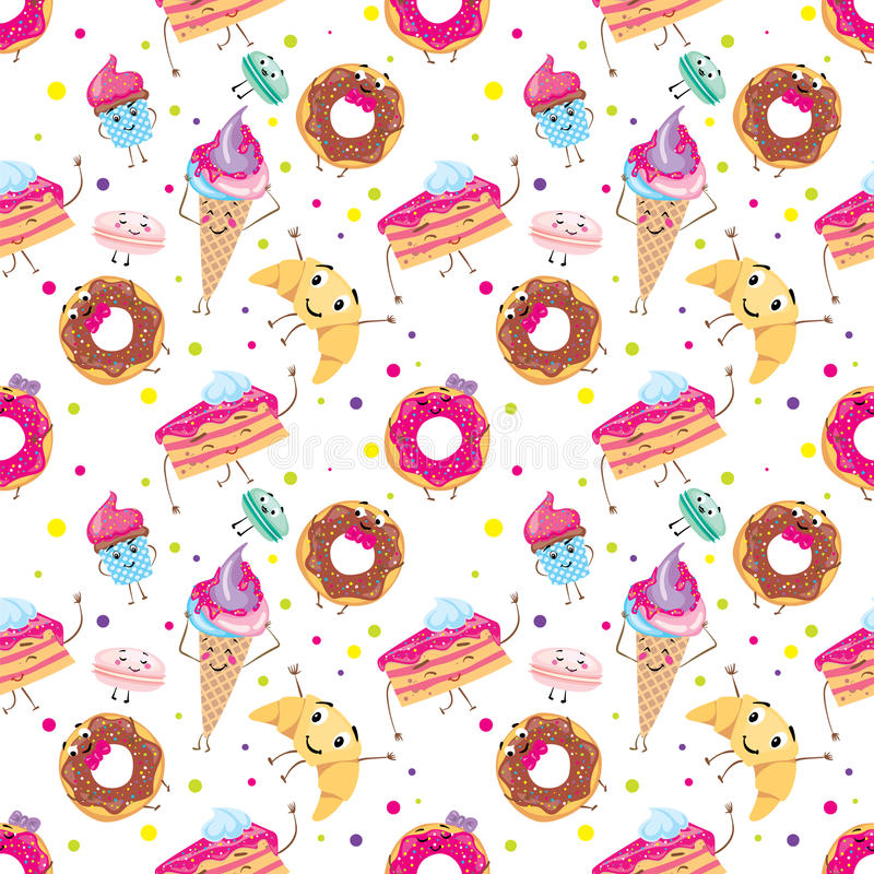 Set of cute desserts. Donuts, muffins, pasta, coffee, tea, cup, cake, ice creams and a croissant. Smiling sweets. Characters. stock illustration