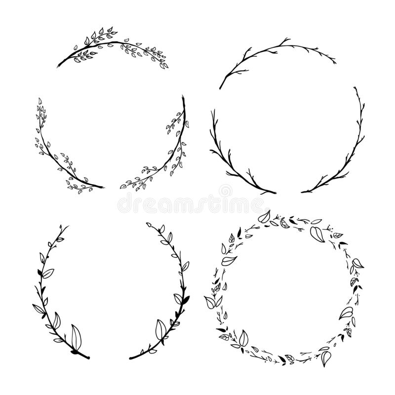 Set of cute detailed hand drawn floral wreaths isolated on white stock illustration