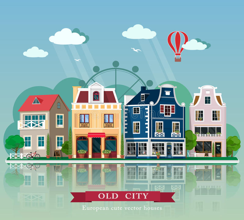 Set of cute detailed vector old city houses. European retro style building facades. royalty free illustration
