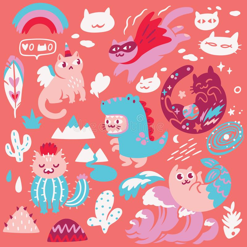 Set of cute different hand drawn kawaii cats, mermaid, unicorn, dinosaur and super hero. Vector illustration. Collection of cute kawaii different cats. Trendy vector illustration