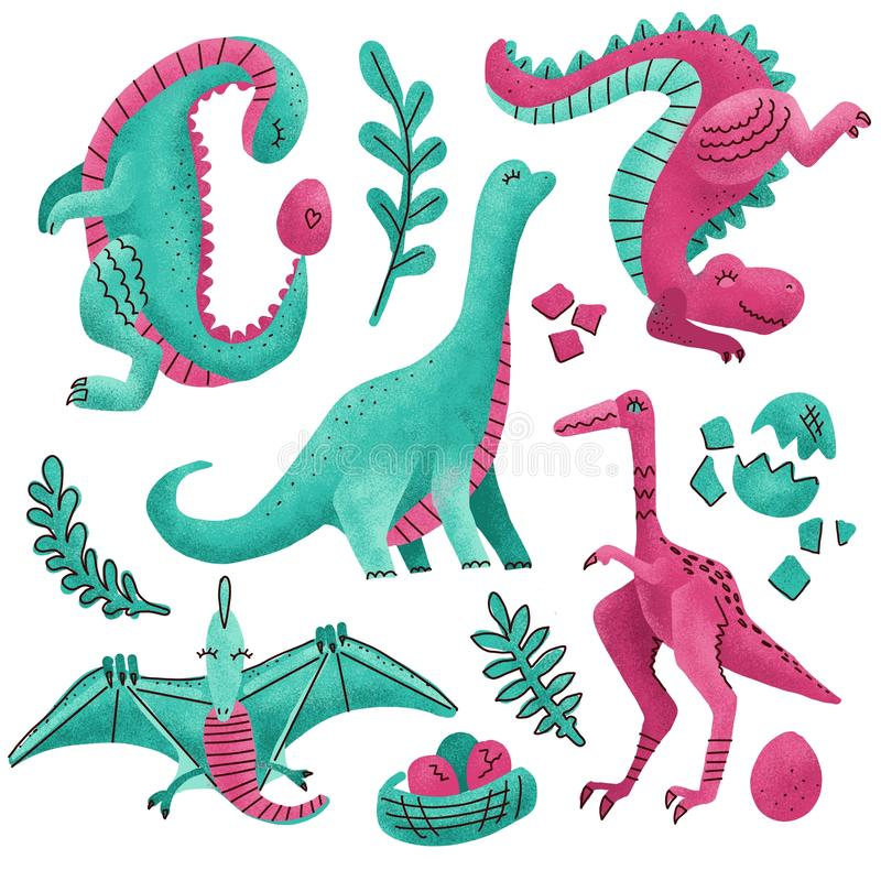 Set of 5 Cute dinosaur color hand drawn textured characters. Dino flat handdrawn clipart. Sketch jurassic reptile. pterodactyl, vector illustration