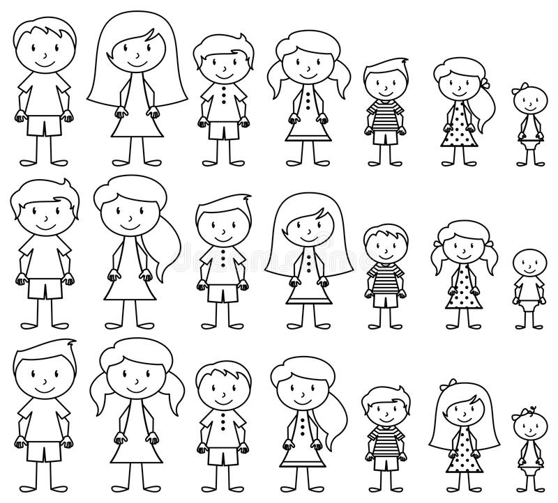 Set of Cute and Diverse Stick People in Vector Format. Strokes expanded but image not flattened so different aspects of each person can be easily altered royalty free illustration