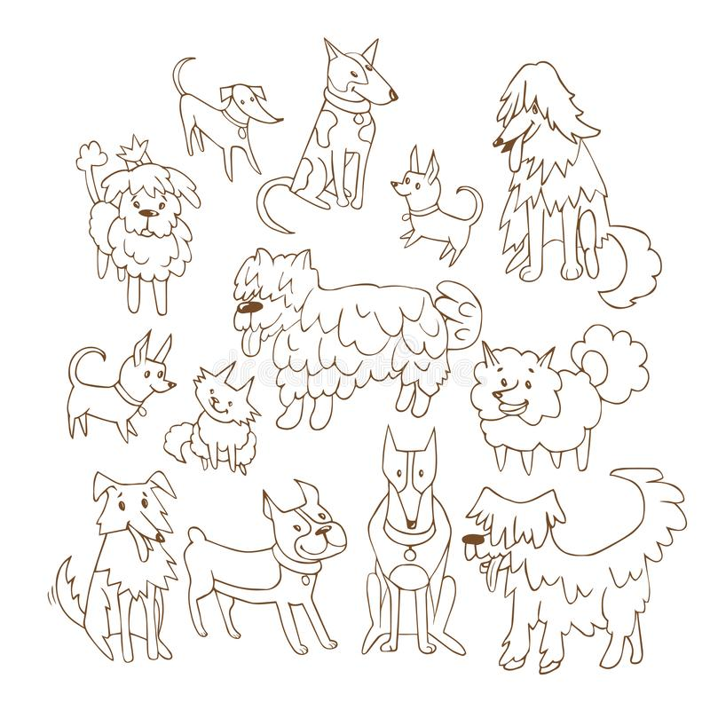 Set of hand drawn cute dogs. vector Illustration.  vector illustration