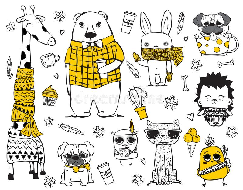 Set of cute doodle hipster animals royalty free illustration