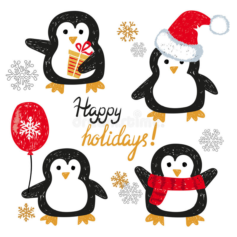 Set of cute doodle penguins. Merry Christmas greetings. vector illustration