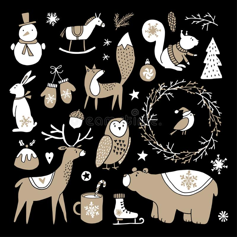 Set of cute doodle sketches. Christmas clip-arts of bear, bunny, reindeer, fox, owl, squirrel and snowman. Scandinavian stock illustration