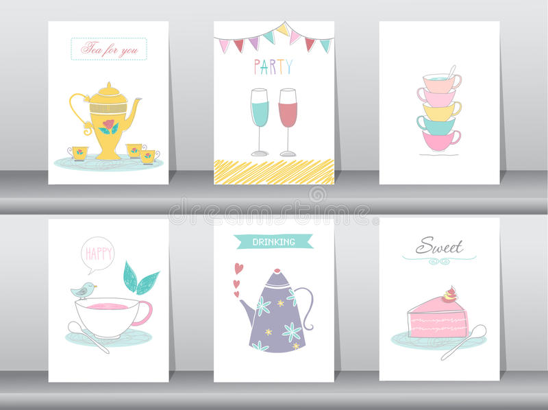 Set of cute drinking and tea time poster concept royalty free illustration