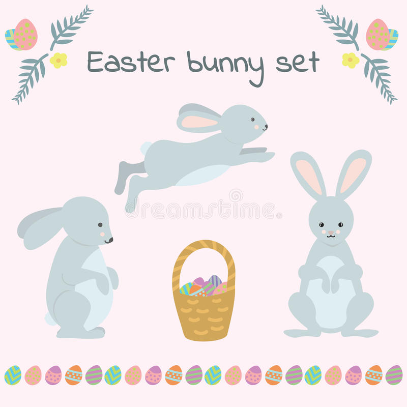 Set of cute Easter rabbits with eggs and banners. vector illustration