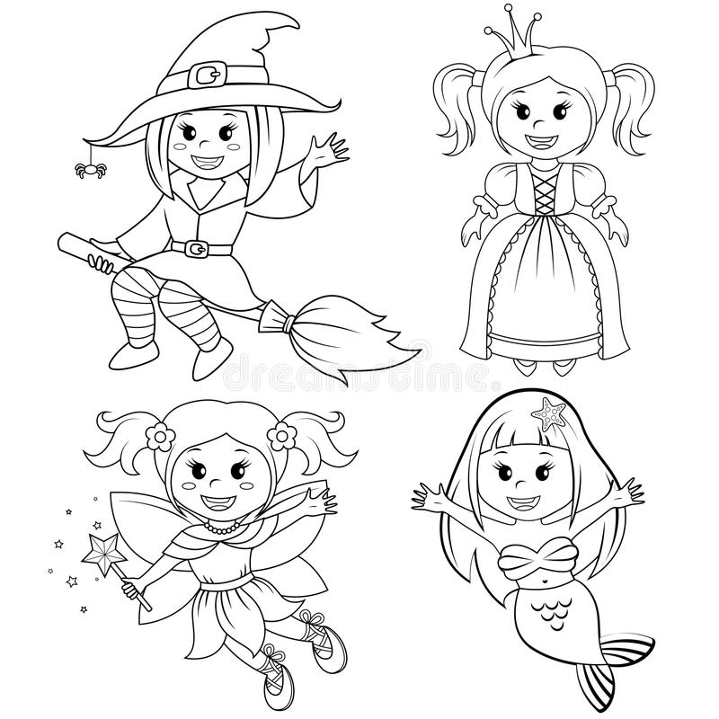 Set of cute fairytale girls. Halloween witch, mermaid, princess and fairy. Black and white vector illustration for coloring book. Set of cute fairytale girls stock illustration