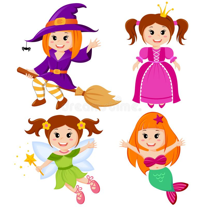 Set of cute fairytale girls. Halloween witch, mermaid, princess and fairy vector illustration