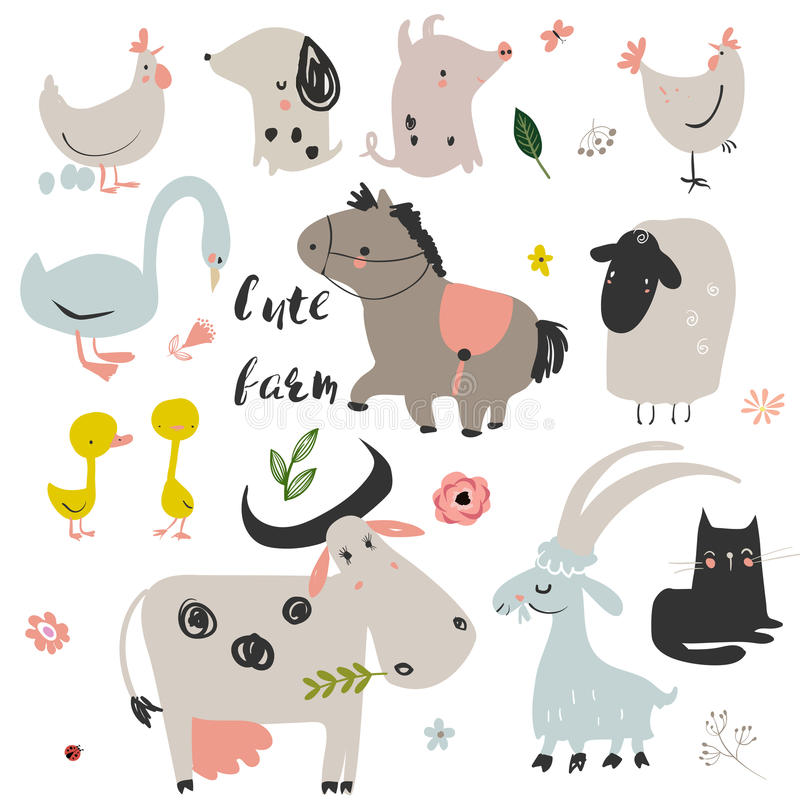 Set of cute farm animals. Set with cute color farm animals. vector illustration stock illustration