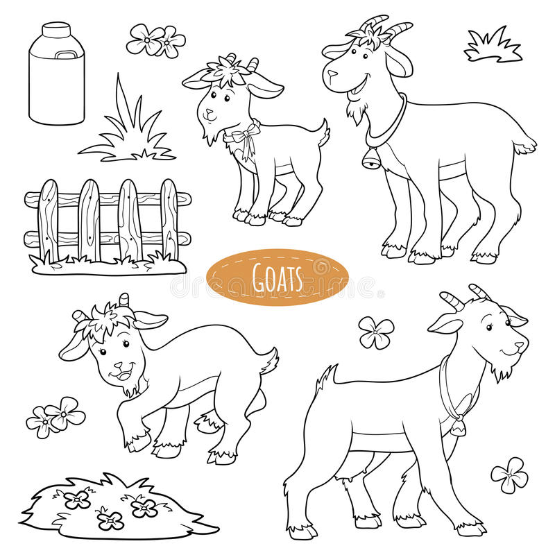 Set of cute farm animals and objects, vector family goats vector illustration