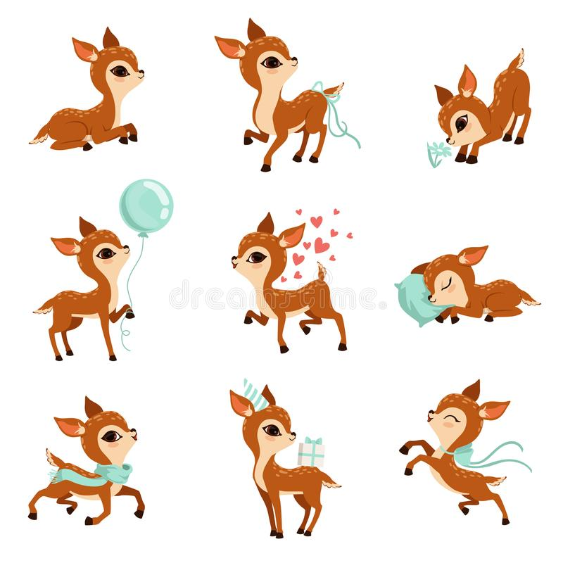 Flat vector set of cute fawn in different actions. Cartoon character of little deer. Adorable forest animal. Graphic royalty free illustration