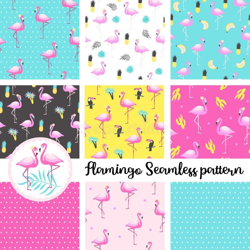 Set of cute flamingo. Seamless Pattern. Vector Illustration vector illustration