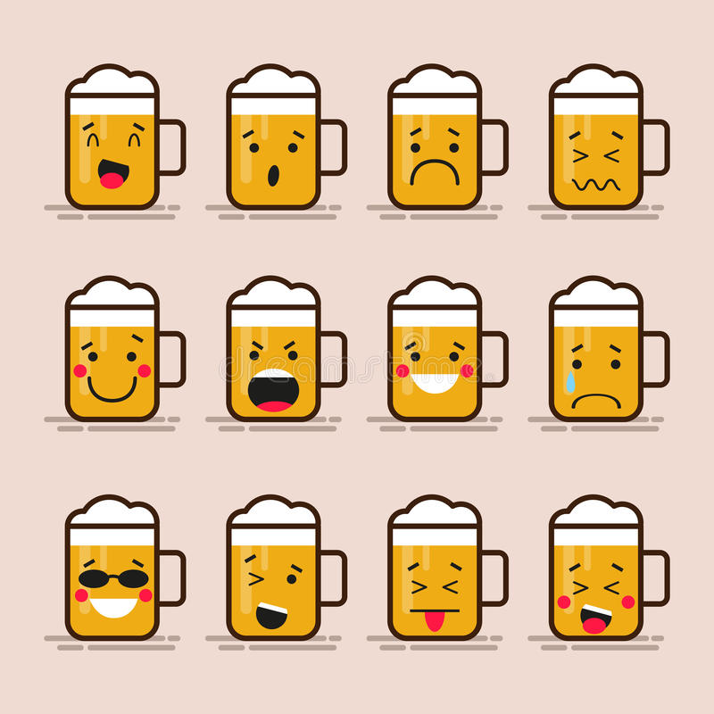 Set cute flat design glass of beer character with different facial expressions, emotions. Collection of emoji isolated royalty free illustration