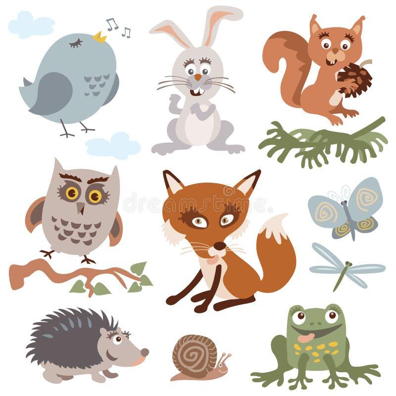 Set Of Cute Forest Animals Retro Vintage Colors Vector Cartoon