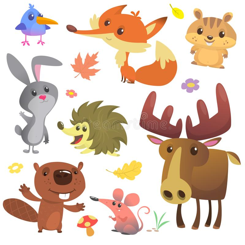 Set of cute forest animals isolated on white background. Cartoon bird hedgehog beaver bunny rabbit chipmunk fox mouse and moose. Elk. Vector illustration stock illustration