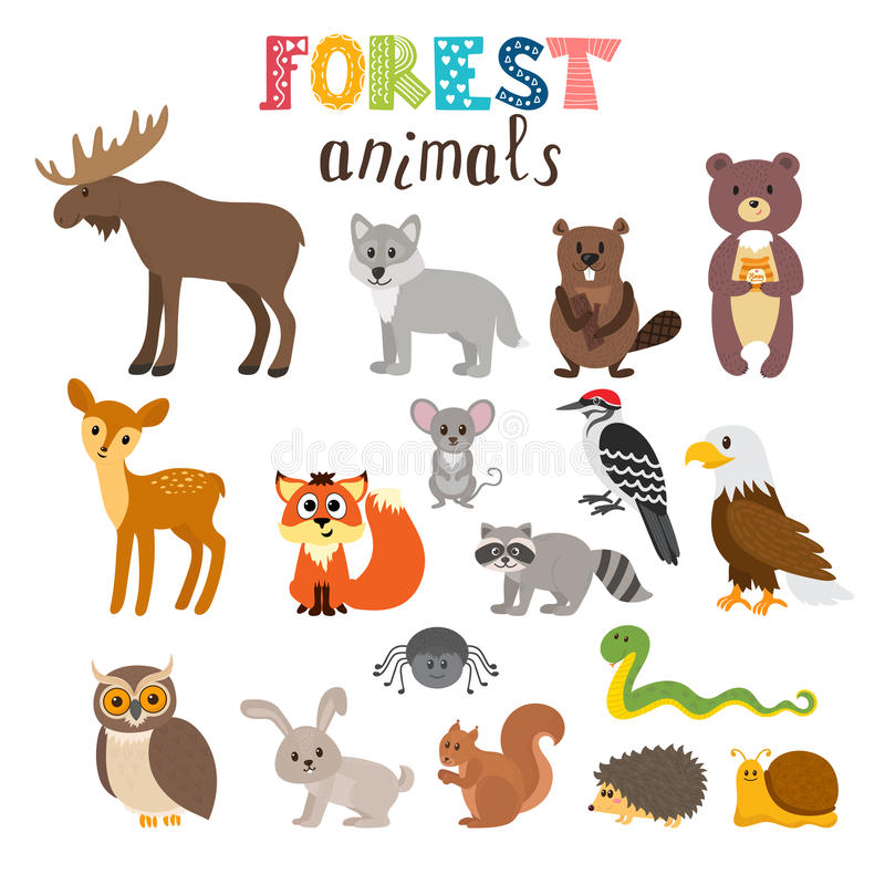 Set Of Cute Forest Animals In Vector Woodland Cartoon