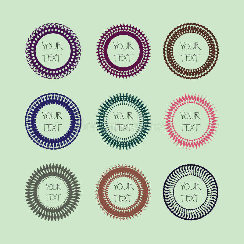 Set of cute frames, colorful round shapes with seamless design style. royalty free stock image