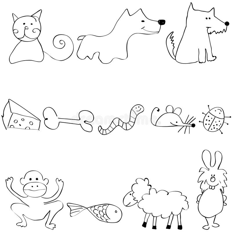 Set of cute and funny animals stock illustration