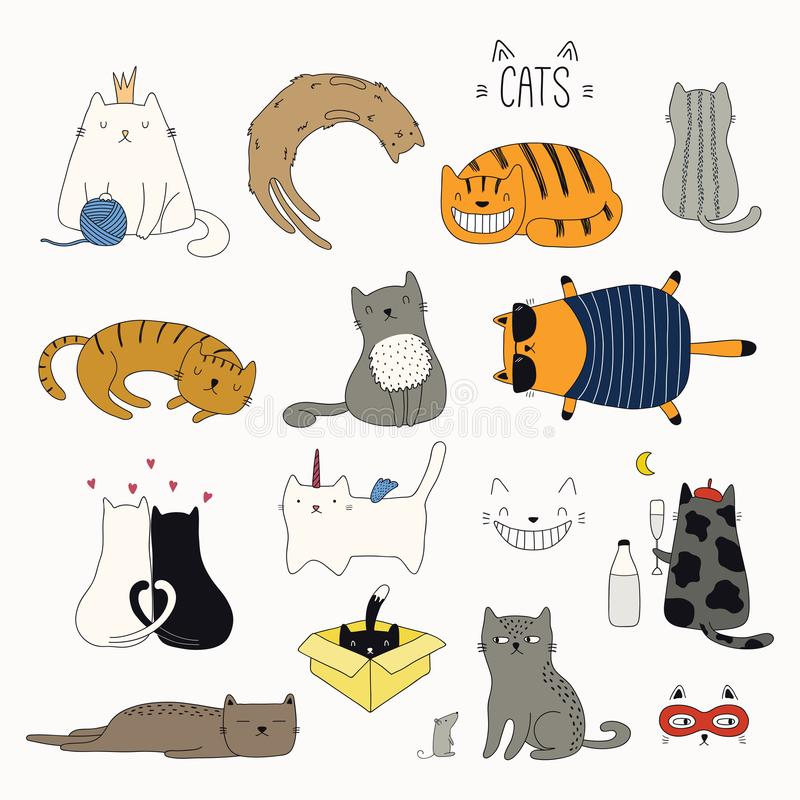 Cute cat doodles set stock illustration