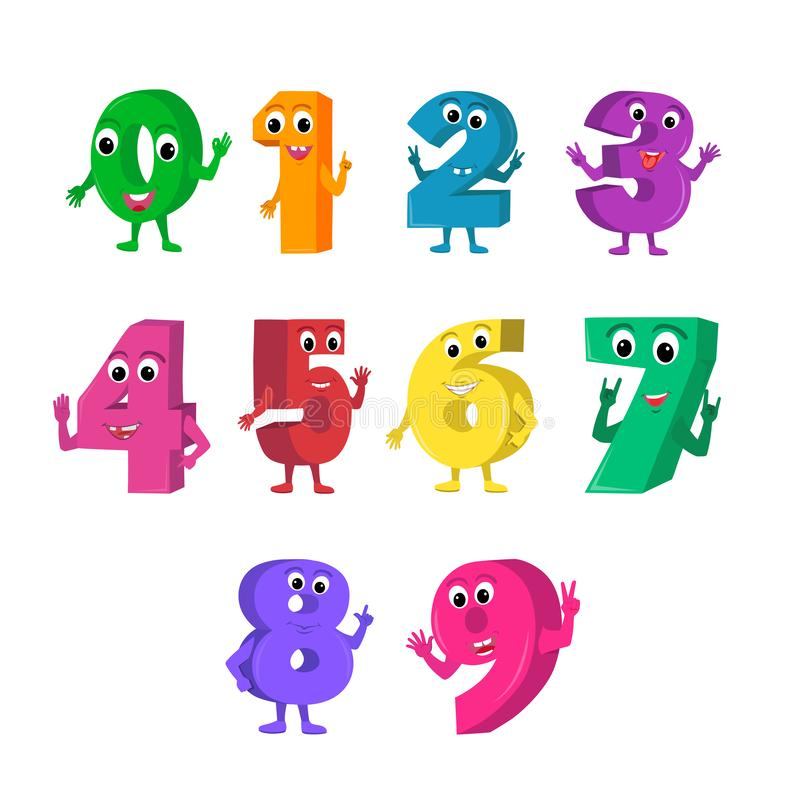 Set of cute and funny colorful number characters, cartoon vector illustration isolated on white background. royalty free illustration