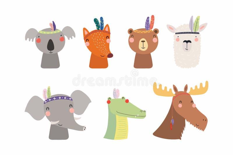 Cute little animals tribal set royalty free illustration