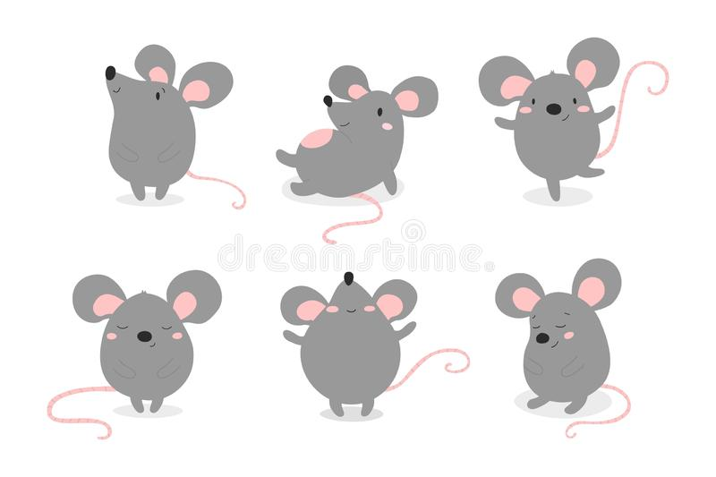 Set of cute funny mouses in different poses in cartoon style. royalty free illustration