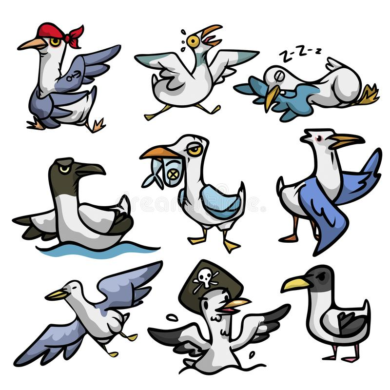 Set of cute and funny seagull character in different situation royalty free illustration