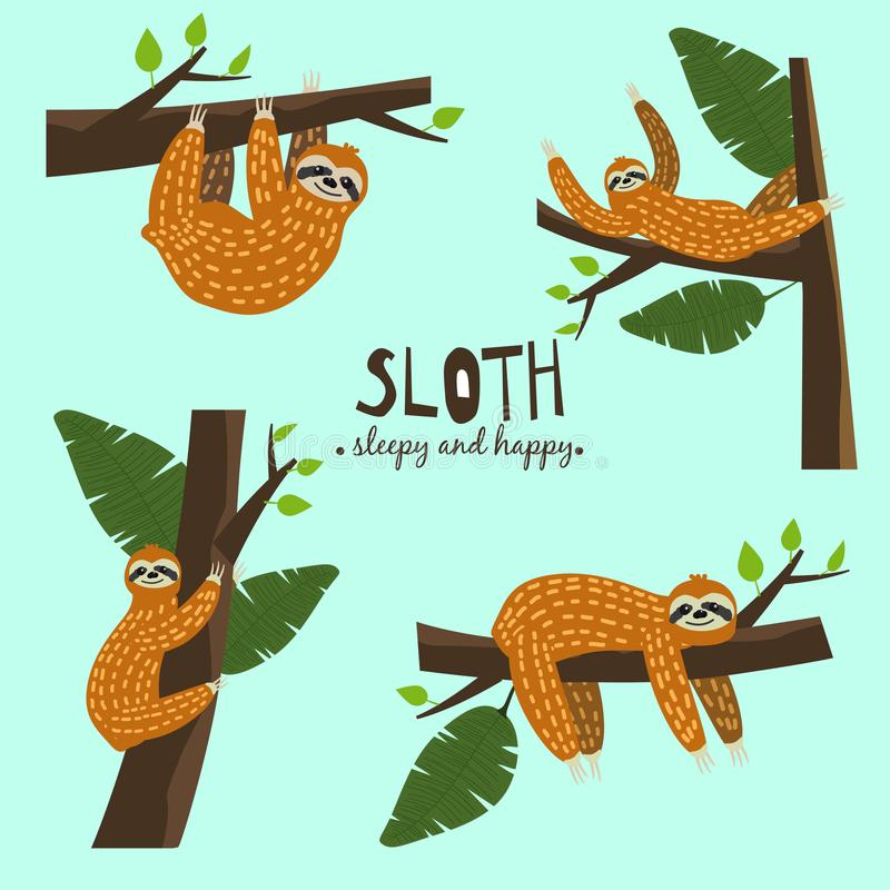 Set Cute funny sloth hanging on the tree. Sleepy and happy. Adorable hand drawn cartoon animal illustration. Vector cute. Set Cute funny sloth hanging on the royalty free illustration