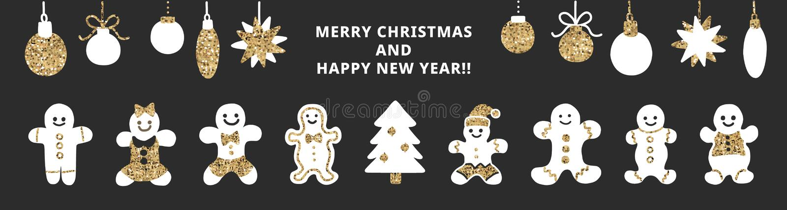 Set of cute gingerbread cookies for christmas. Isolated on black background. Vector illustration vector illustration