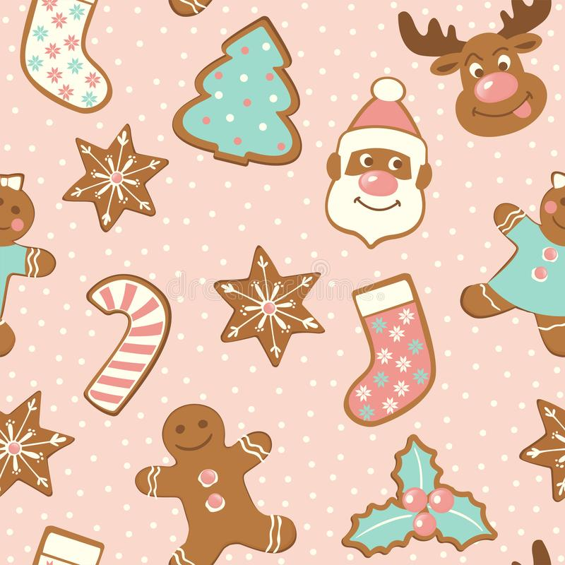 Set of cute gingerbread cookies for christmas. Isolated on white background. Vector seamless pattern. Set of cute gingerbread cookies for christmas. Isolated on vector illustration